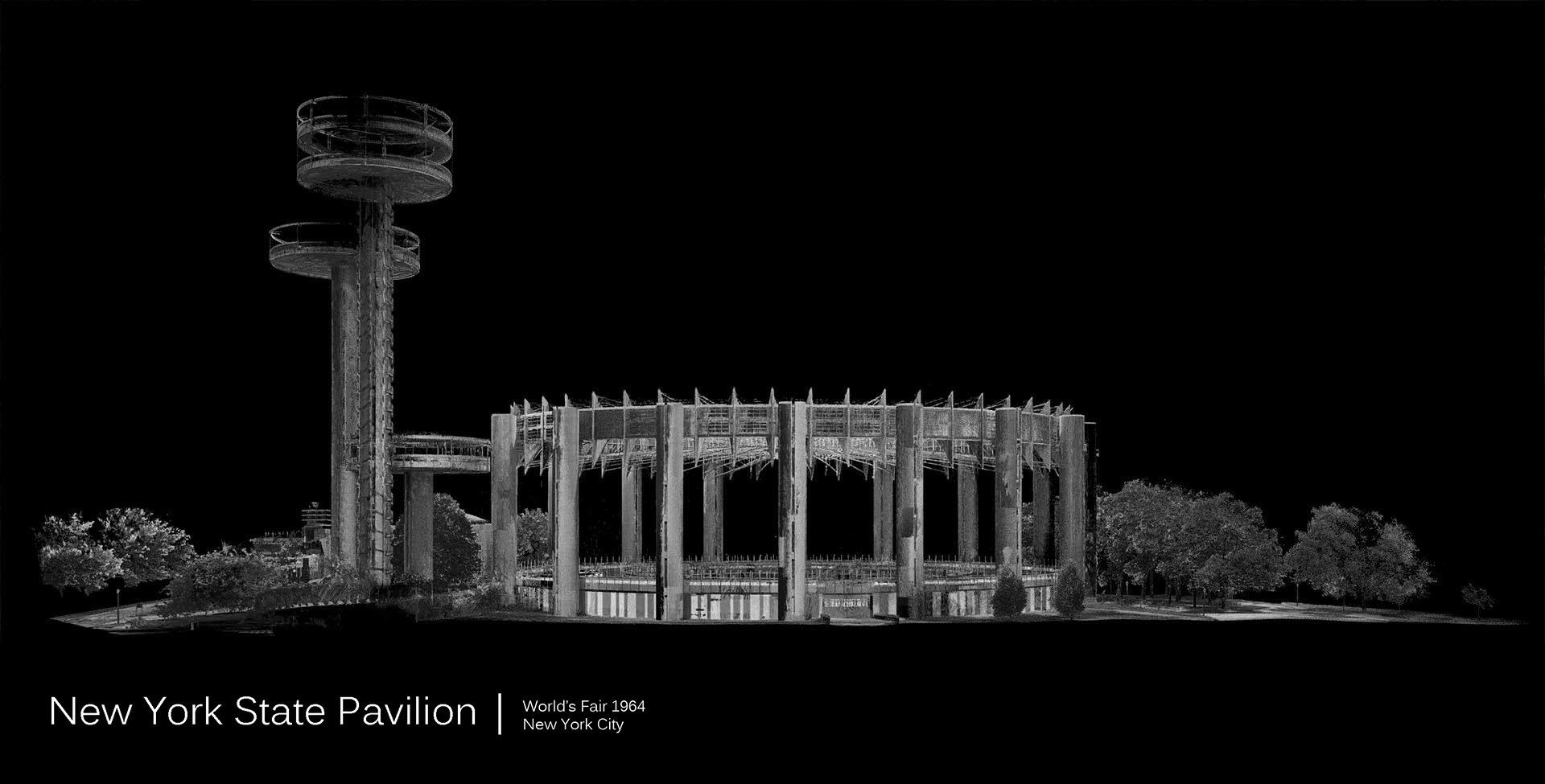 Greyscale New York State Pavilion Laser Scan