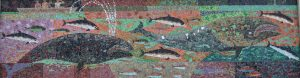 "Whale & dolphin mosaic above side entrance - signed ""S. Hertel"""