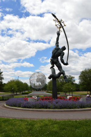 Rocket Thrower in Flushing Meadows-Corona Park with Unisphere in Background