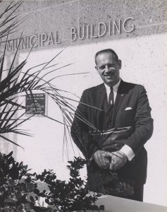 Robert P. Murkshe in front of the then newly constructed Cocoa Beach Municipal Building