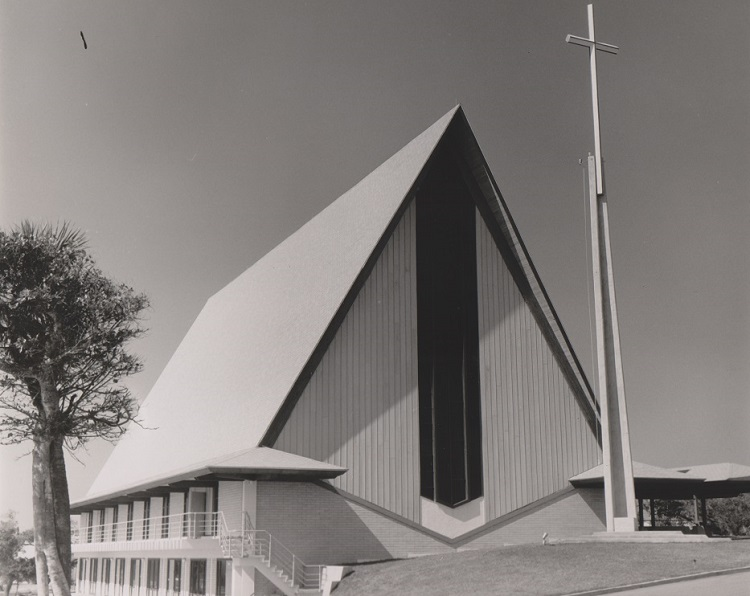 Historical image of the First United Methodist Church in Cocoa Beach