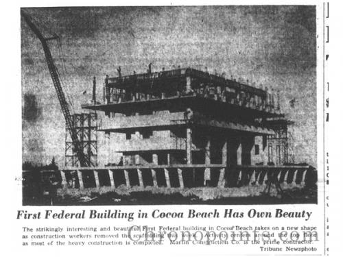 1961 construction clipping from the Cocoa Tribune